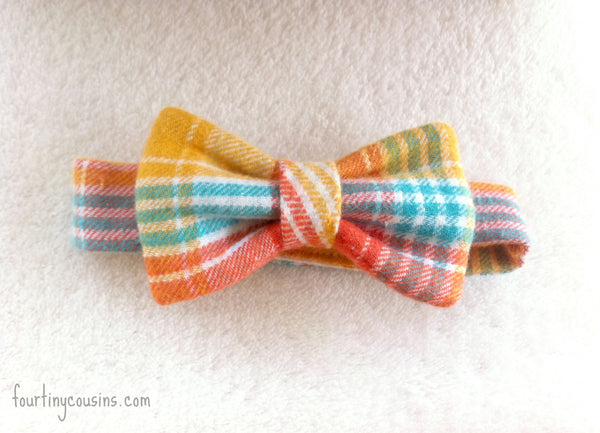 Orange, Yellow, and Teal plaid Bow Tie
