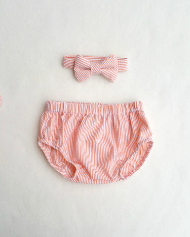 Orange Seersucker Diaper Cover and Bow Tie
