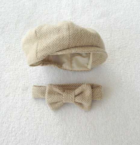 Newsboy Hat and Bow Tie in Khaki and Cream Herringbone