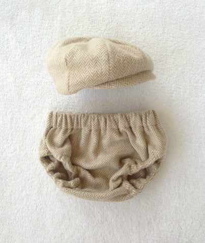 Ready to Ship Newsboy Hat and Diaper Cover in Khaki and Cream Herringbone