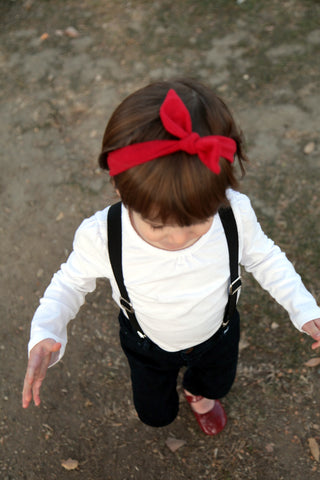Girls Retro Knotted Headband in Red