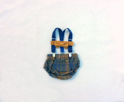 Ready to Ship! Plaid, Corduroy and Organic Cotton Bow Tie, Suspenders, and Diaper Cover Set
