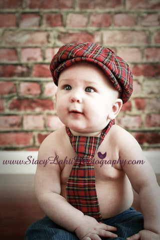 Red Plaid Newsboy Hat