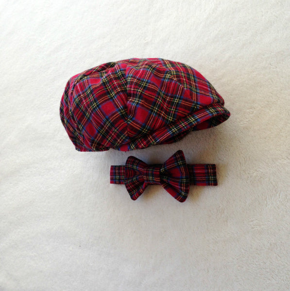 Red Plaid Cap and Tie