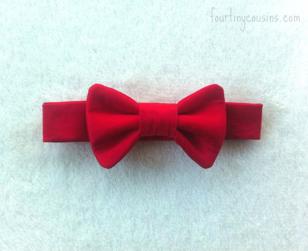 Red Cotton Sateen Bow Tie