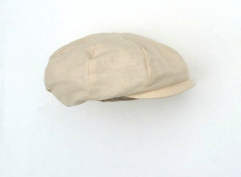 Sand Linen Cotton Newsboy Hat