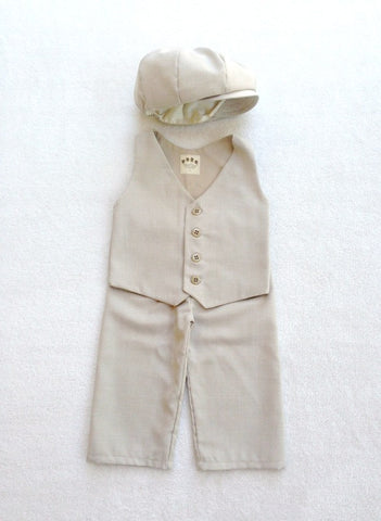 Hat, Vest and Pants in Sand Suiting