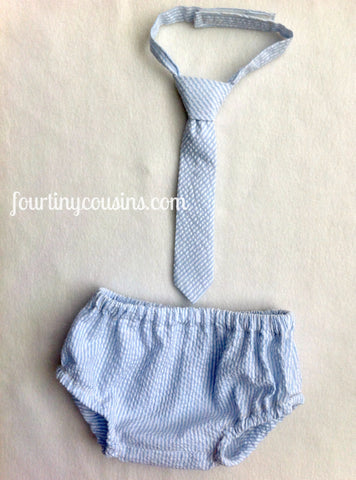 Blue Seersucker Diaper Cover and Tie