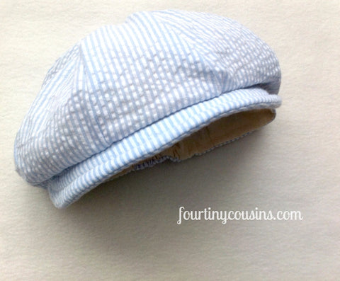 Ready to Ship Baby Blue Seersucker Hat