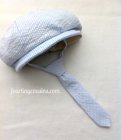 Newsboy Hat and Tie in Blue and White Seersucker