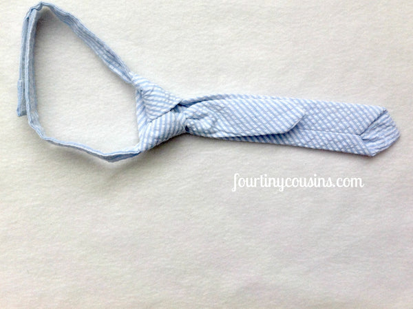 Baby Blue and White Seersucker Long Tie