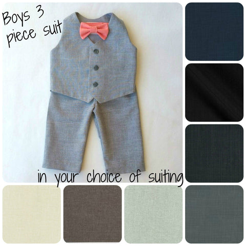 Vest, Bow Tie, and Shorts or Pants Set in Your Choice of Suiting and Bow Tie