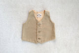 Vest in Cream and Tan Herringbone