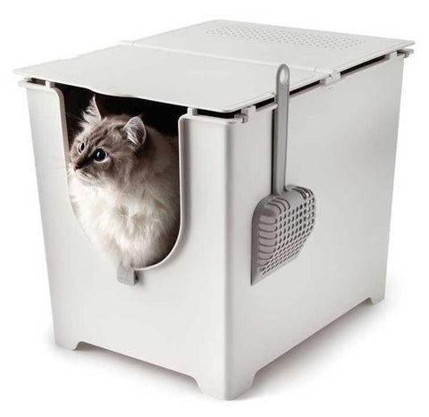 Modkat Flip Cat Litter Box with scoop & reusable Tarp Liner