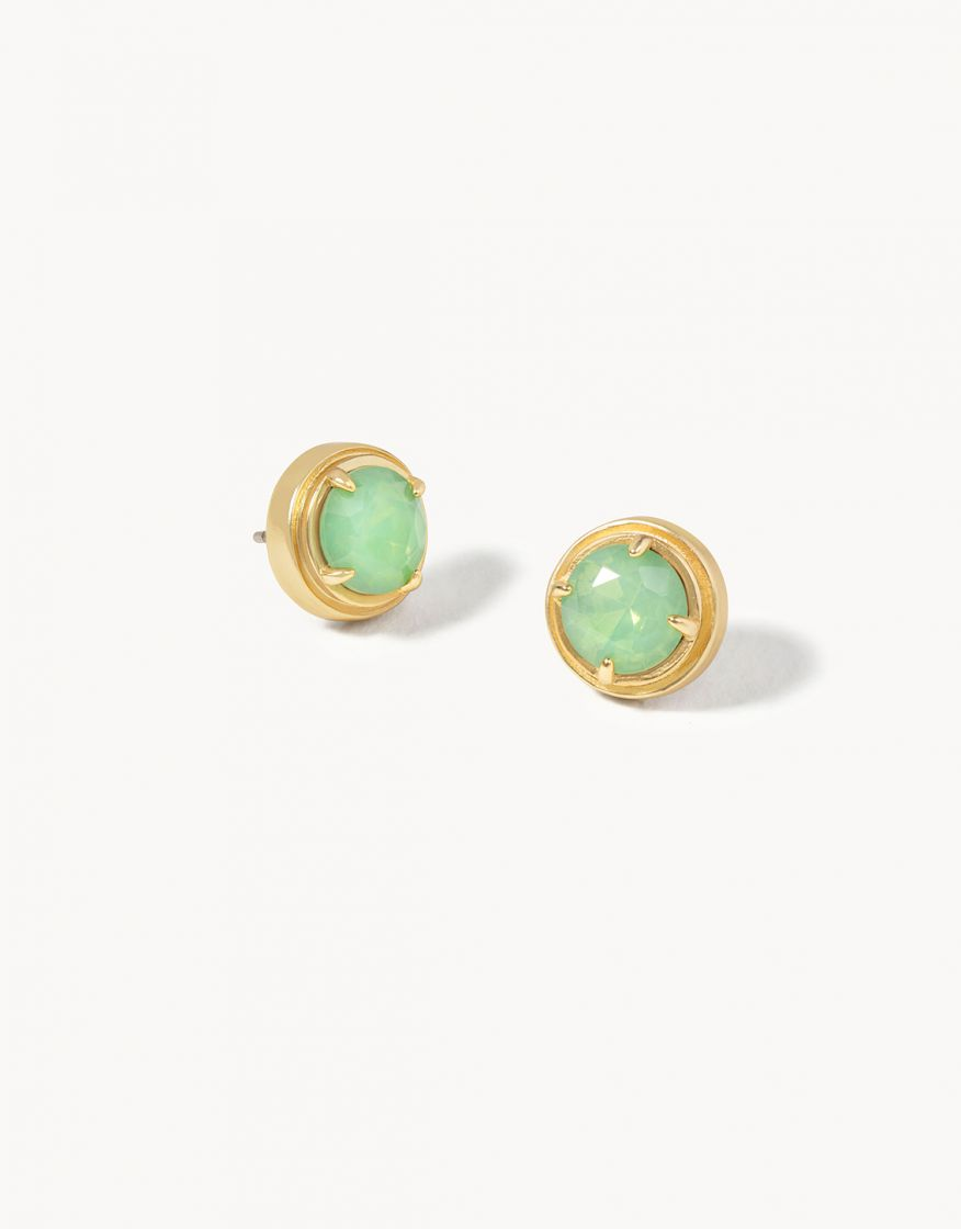 Earrings - Crema Stud/Sea Foam