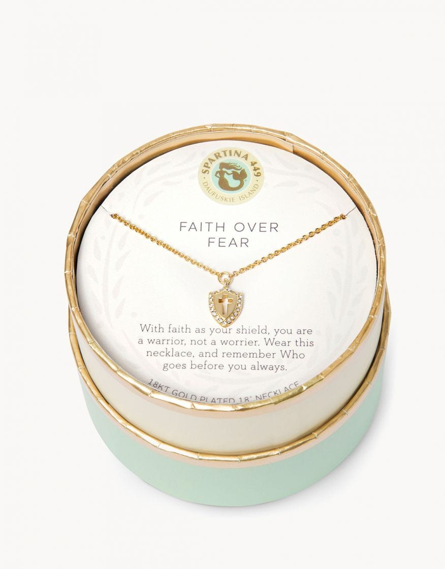 Spartina Necklace - Faith Over Fear/Cross Shield