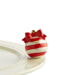 Mini - Deck the Halls -  Red & White Ornament