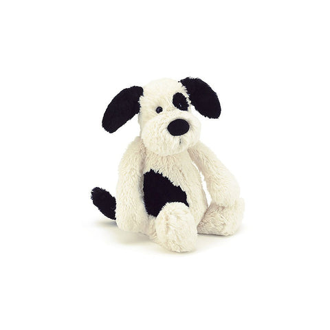 Bashful Puppy - Black & Cream - 12""