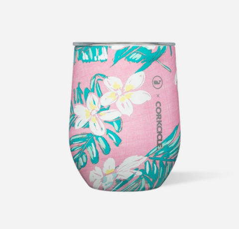 Stemless Wine Tumbler - Vineyard Vines Pink Tropical 12 oz.