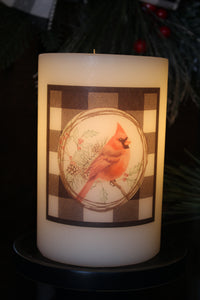 Candle Sleeve - Buffalo Cardinal Wreath