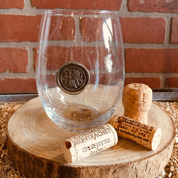 Stemless Wine Glass - Pewter Initial