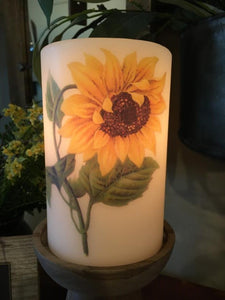 Candle Sleeve - Sunflower, Single Head