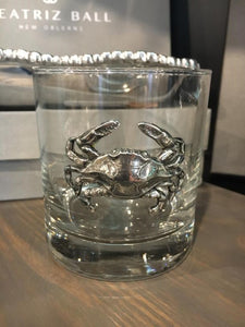 Pewter Blue Crab - Old Fashioned Glass