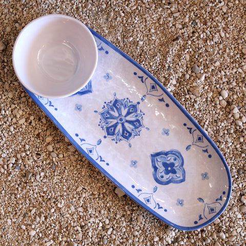 Bowl and Tray Set- Moroccan Blue