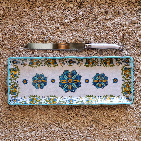Baguette Tray and Bread Knife Set- Allegra Turquoise