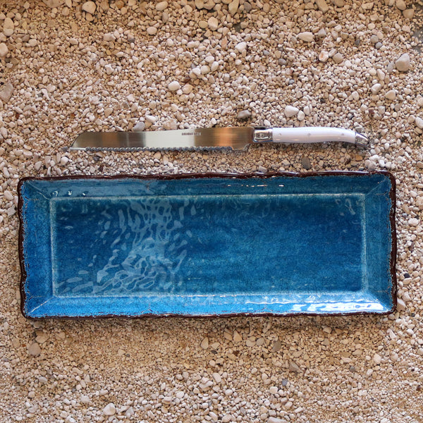 Baguette Tray and Bread Knife Set- Antiqua Blue
