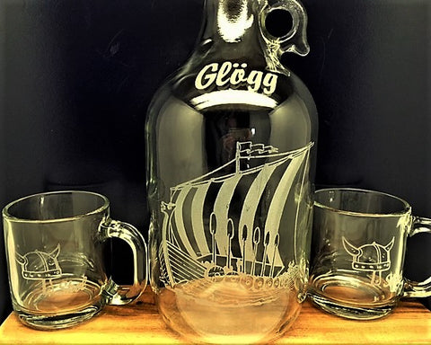 Glass Viking Jug & Two Mugs