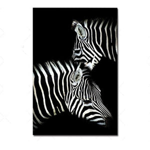 Just the two of Us - Zebra on Black Poster