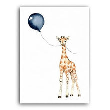 Load image into Gallery viewer, Blue Balloon Safari Art Posters