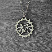 Load image into Gallery viewer, stainless steel bicycle pendant and chain