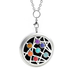 star burst oil diffuser chakra stone necklace