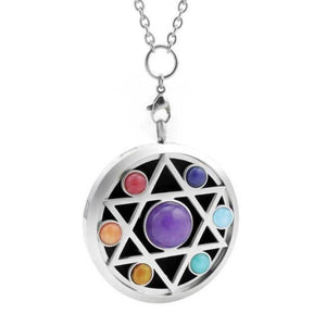 star design hexagram chakra oil diffuser necklace