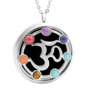 lettering chakra stones oil diffuser necklace