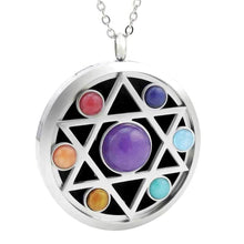 Load image into Gallery viewer, hexagram chakra stones necklace oil diffuser