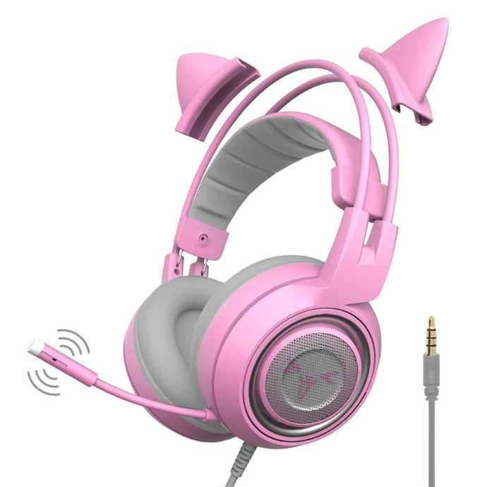 Cat Ears Noise Reduction Gaming Headset