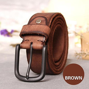 textured brown leather belt