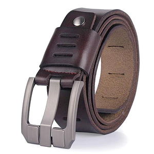 coffee matte finish modern leather belt