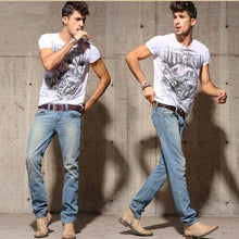 Load image into Gallery viewer, two men in jeans wearing matte modern leather belt