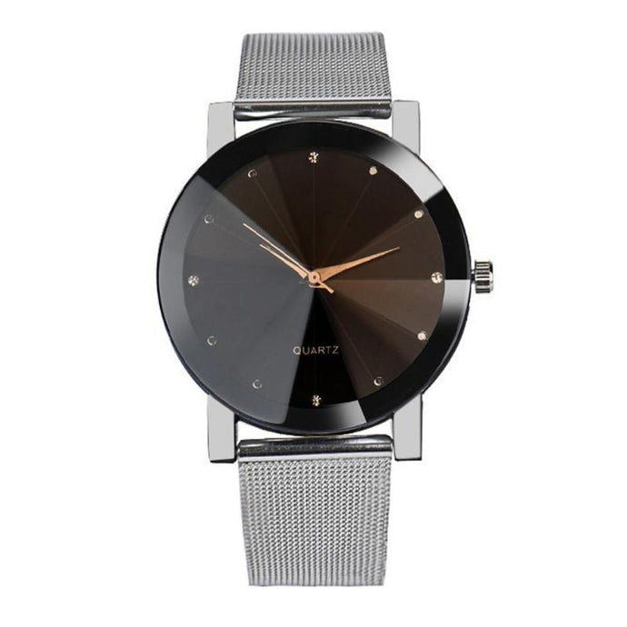 black silver stainless steel watch