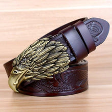 Load image into Gallery viewer, bronze eagle motif etched belt coffee
