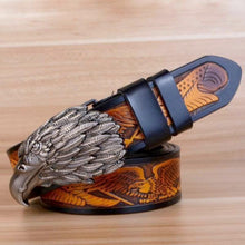 Load image into Gallery viewer, pewter eagle motif etched belt