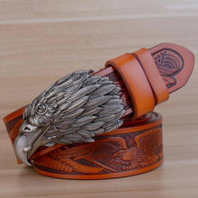 Load image into Gallery viewer, pewter eagle motif etched belt brown