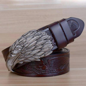 pewter eagle motif etched belt coffee