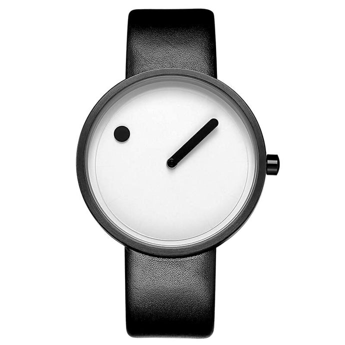 line and dot black band white face minimalist wrist watch