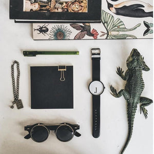 collage of line and dot wrist watch with iguana and sunglasses