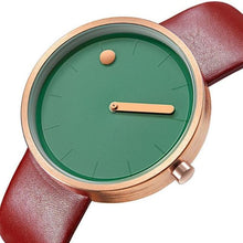 Load image into Gallery viewer, gold line and dot coffee colored band green face minimalist wrist watch